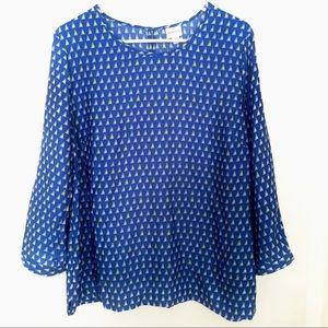Merona XL blue dressy blouse top novelty boat VGUC